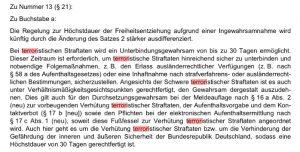 """Screenshot der Seite 48 des Gesetzesentwurf, """"terror"""" rot markiert."""